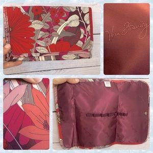 Vera Bradley Floral Make Up Brush Case Red Shades